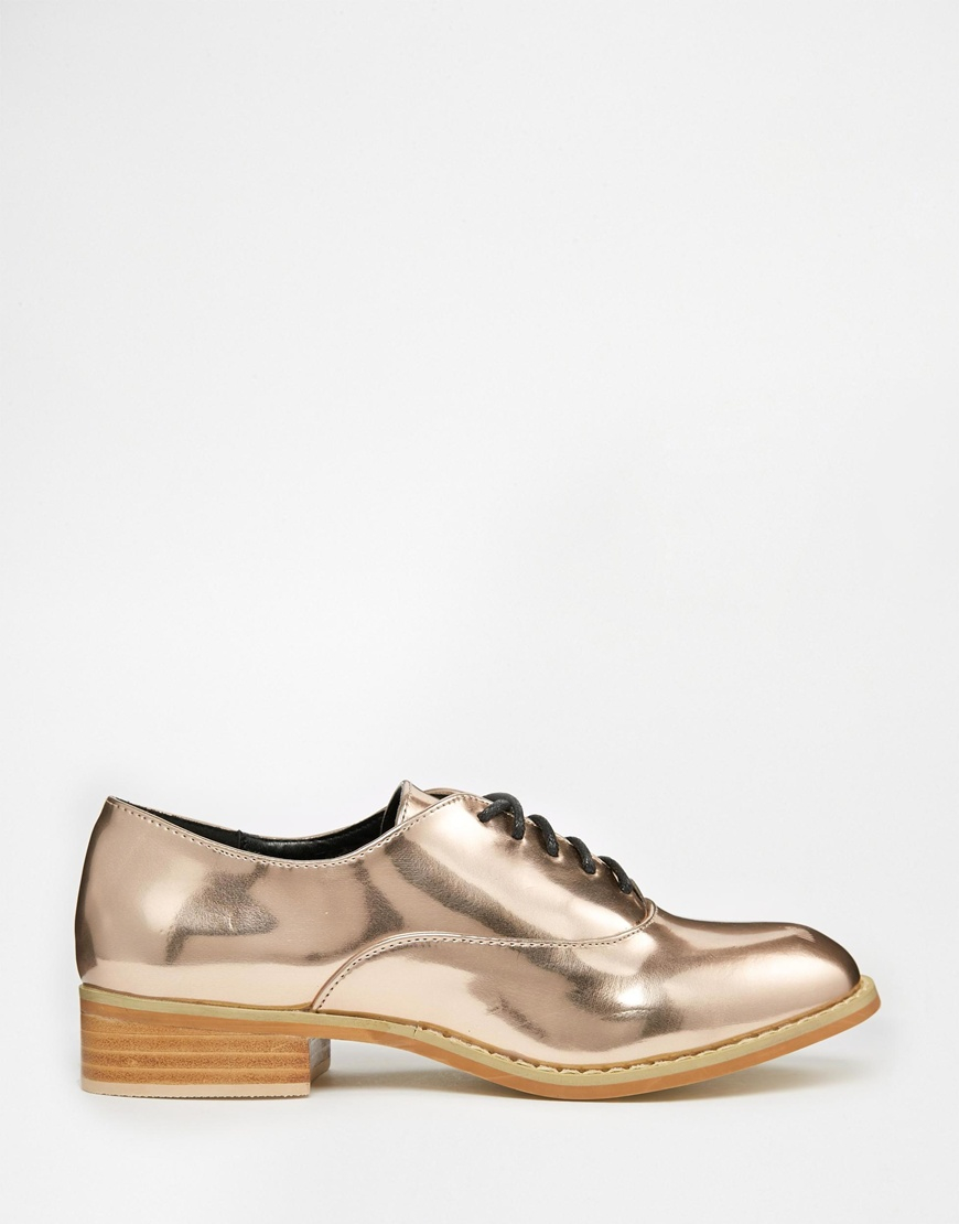 Rose Gold Flat Lace Ups Shoes Office