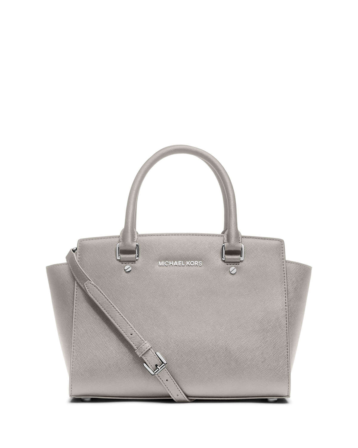 lyst michael michael kors selma medium top zip satchel bag in gray. Black Bedroom Furniture Sets. Home Design Ideas
