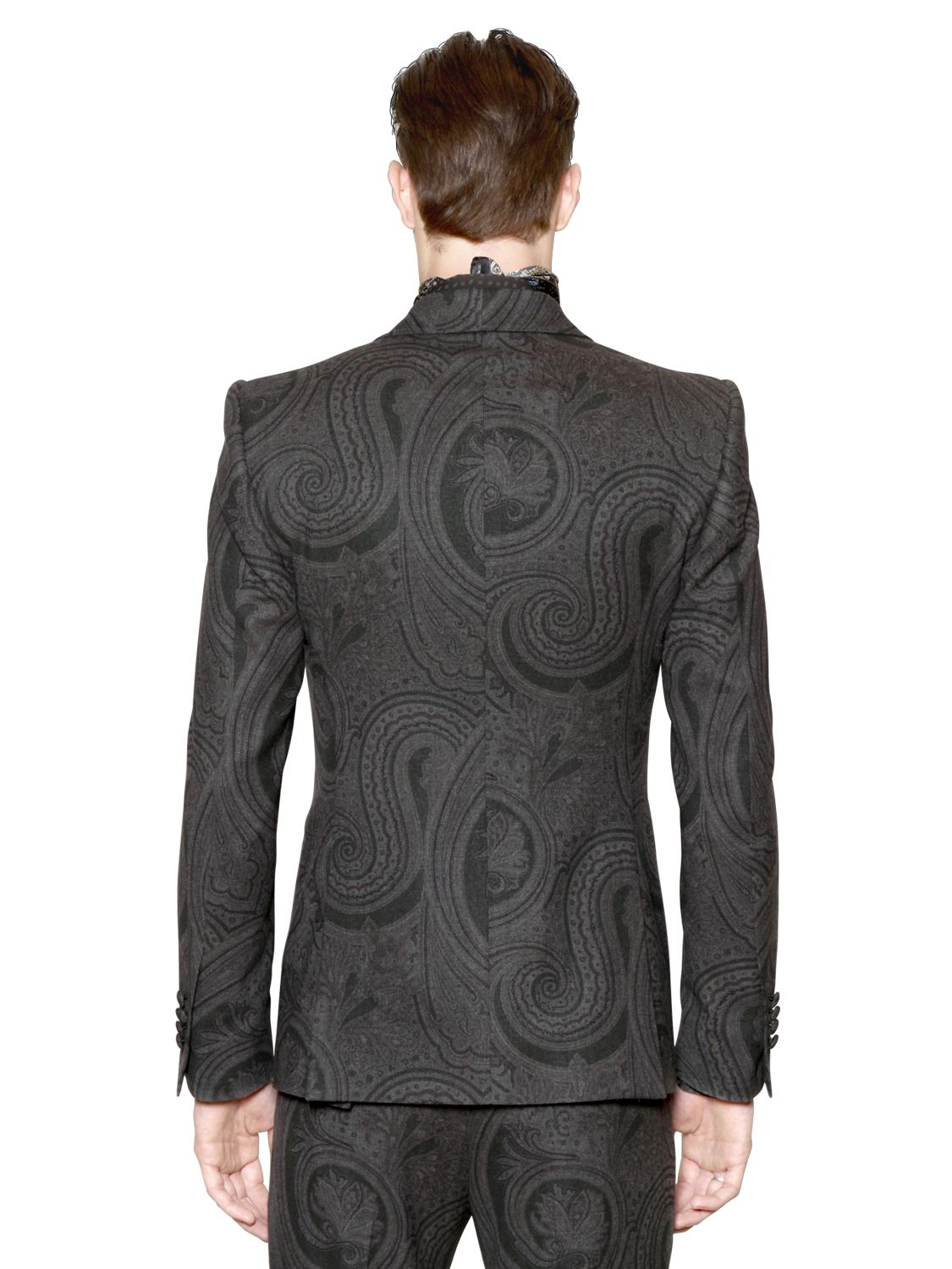 Etro Paisley Stretch Wool Jacquard Jacket In Gray For Men