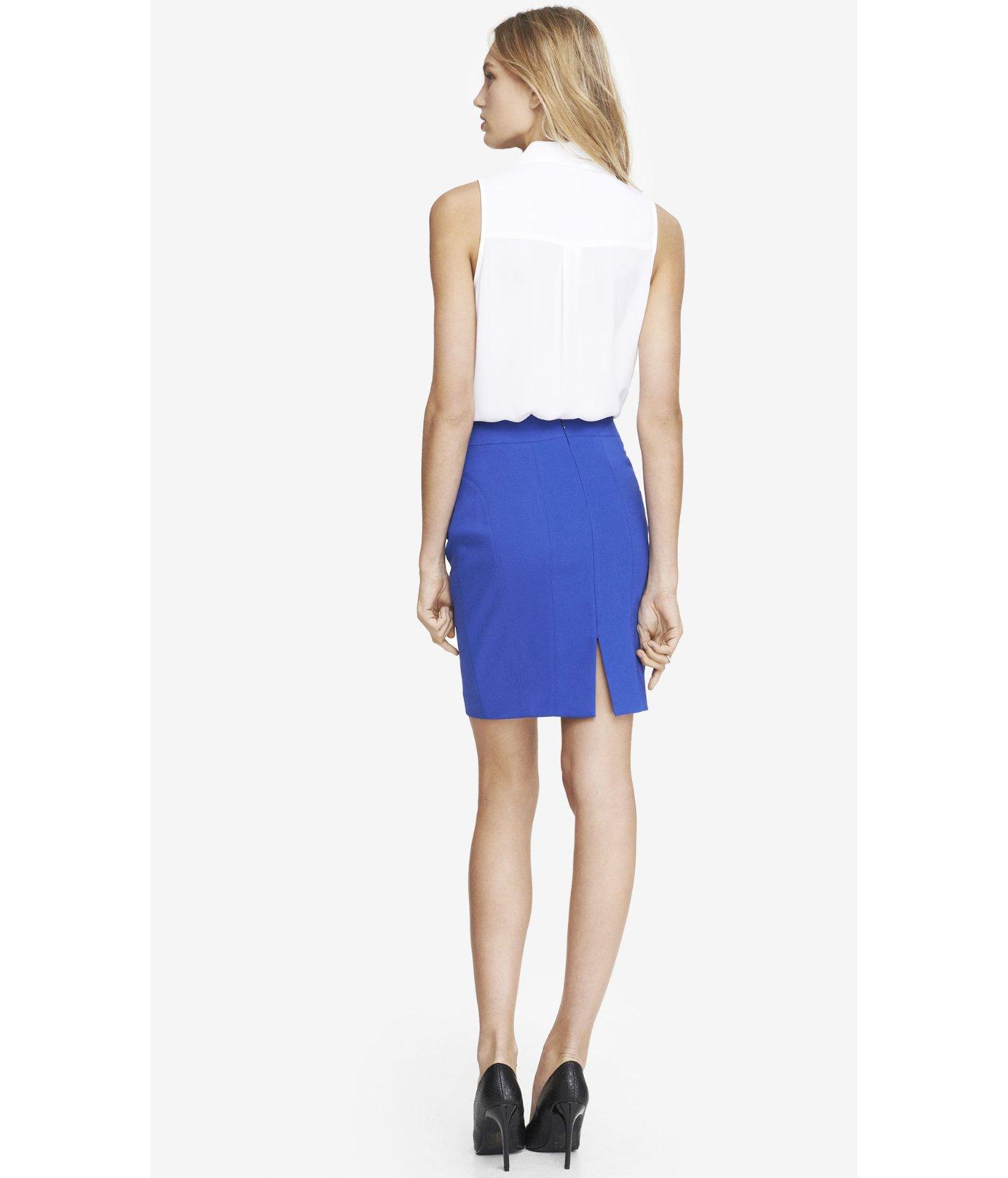 express high waist seamed pencil skirt blue in blue