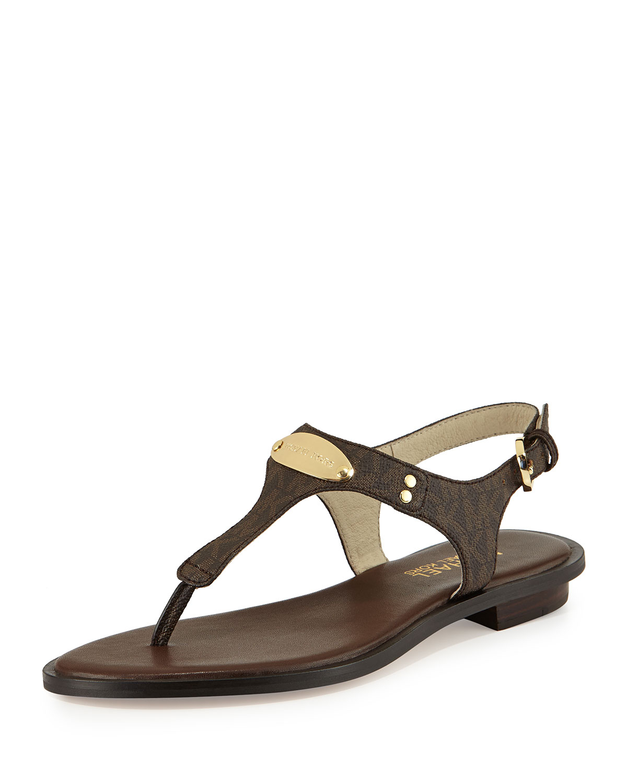 Lyst Michael Michael Kors Plate Thong Sandal In Brown
