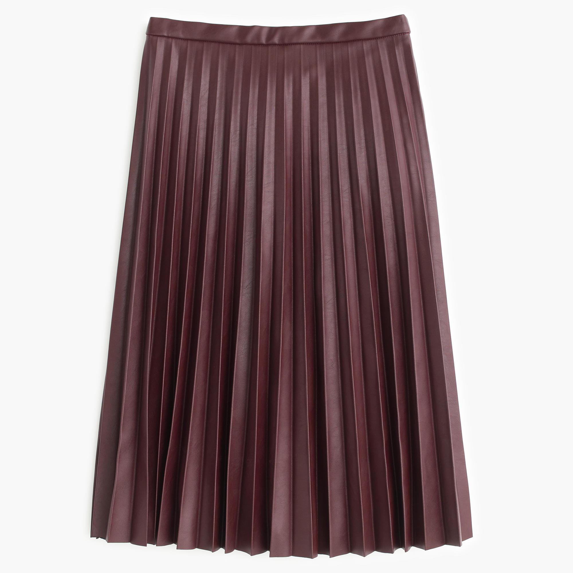 j crew faux leather pleated midi skirt in purple lyst