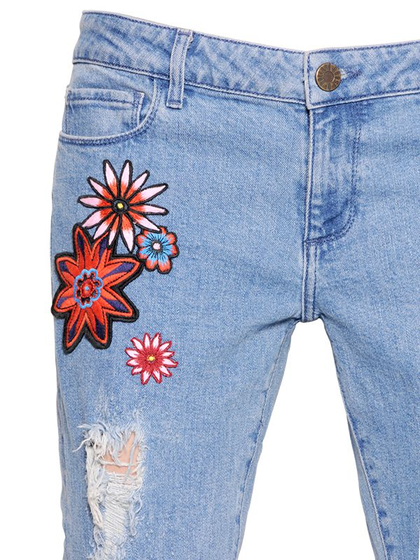House Of Holland Flower Patches On Boyfriend Denim Jeans