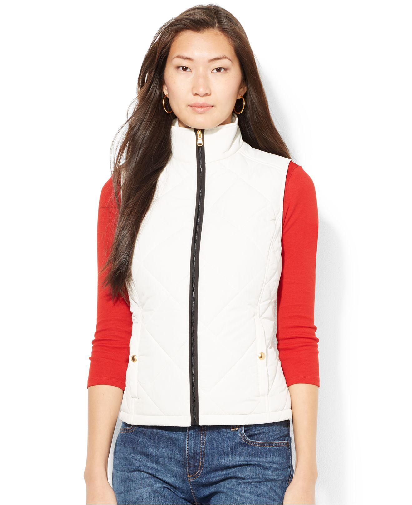 Lyst Lauren By Ralph Lauren Petite Quilted Zip Up Vest