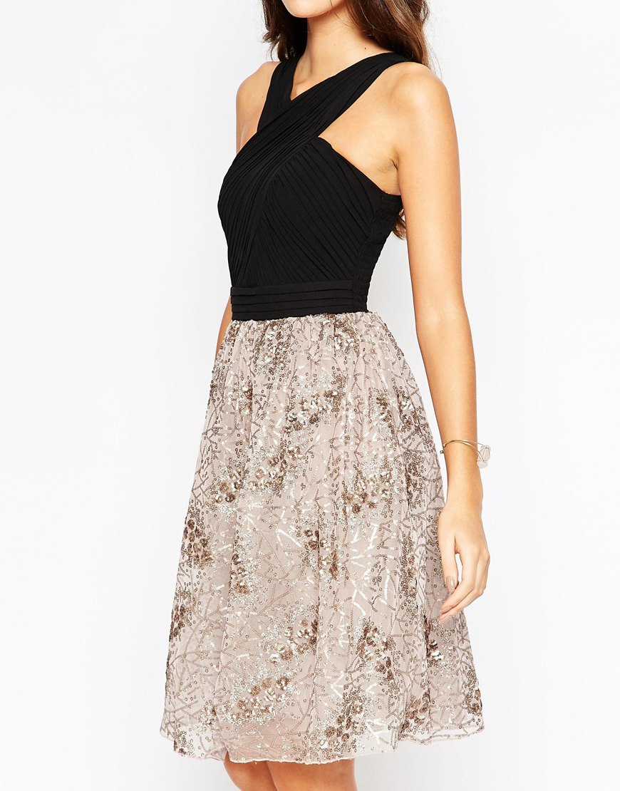pleated chiffon dress with sequin skirt in