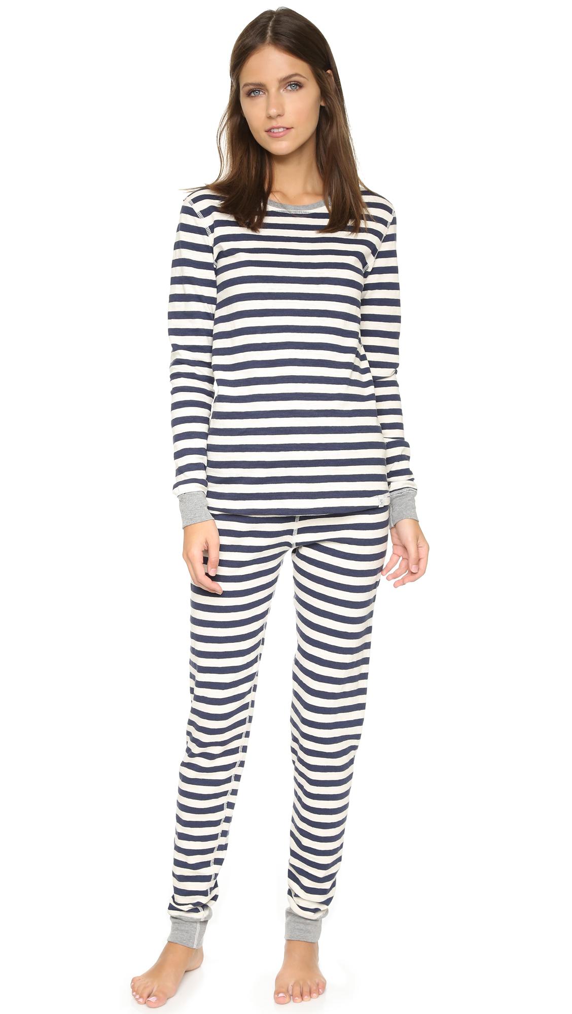 2de54be22f Lyst - Sleepy Jones Helen Pajama Shirt - Rugby Stripe Navy in Black