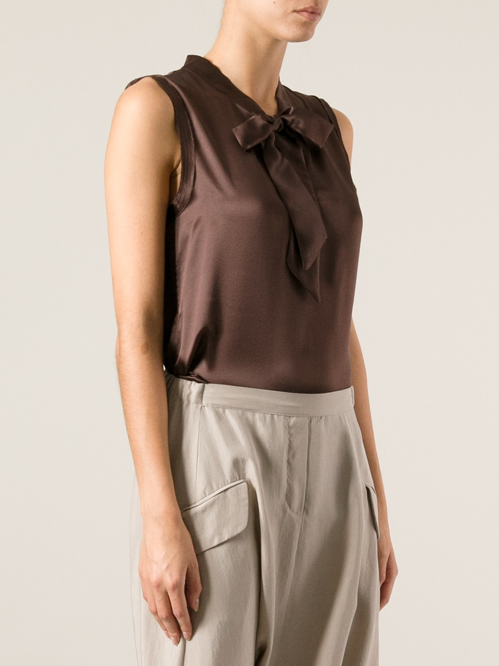 1fd99b3870a7da Lyst - Erika Cavallini Semi Couture Sleeveless Blouse in Brown