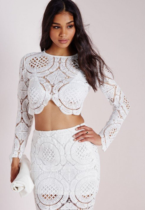 Missguided Disk Crochet Long Sleeve Crop Top White In White Lyst