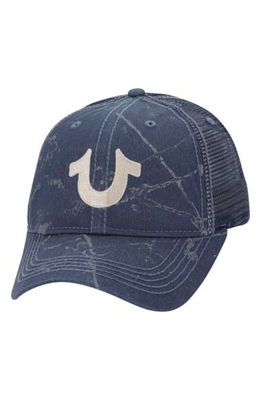 true religion spray print trucker cap in blue for men midnight lyst. Black Bedroom Furniture Sets. Home Design Ideas