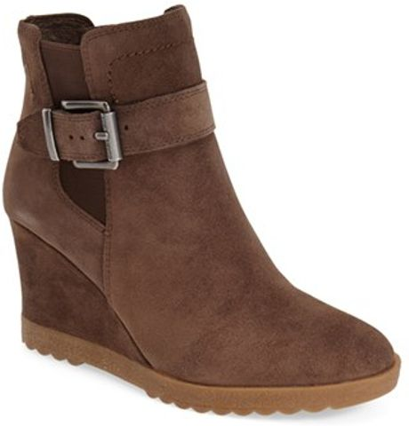 vince camuto landri suede belted wedge boots in brown