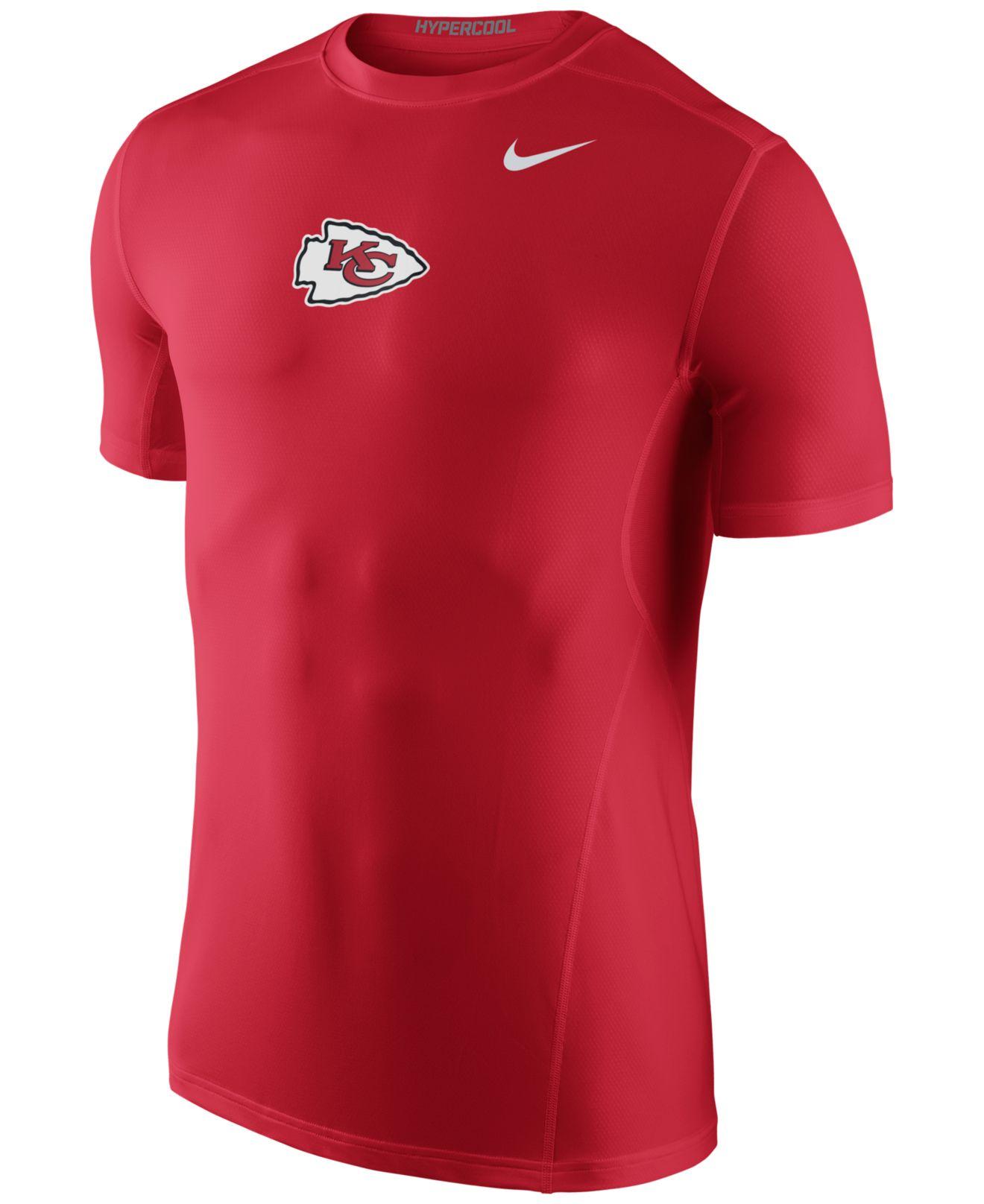 Nike men 39 s kansas city chiefs hypercool t shirt in red for for Kansas city chiefs tee shirts