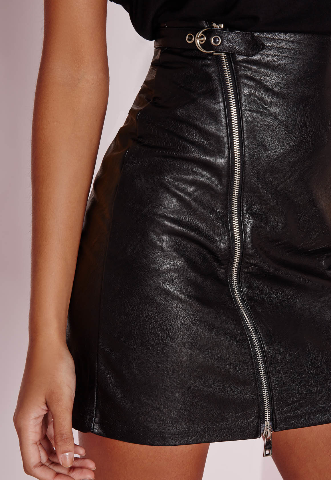 Missguided Faux Leather Buckle Zip A Line Skirt Black in Black | Lyst