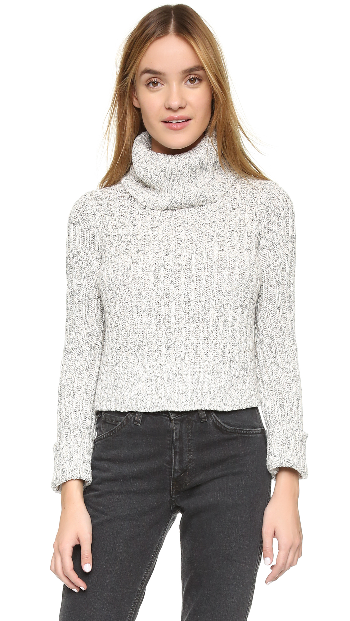 Lyst - Free People Twisted Turtleneck Sweater in White