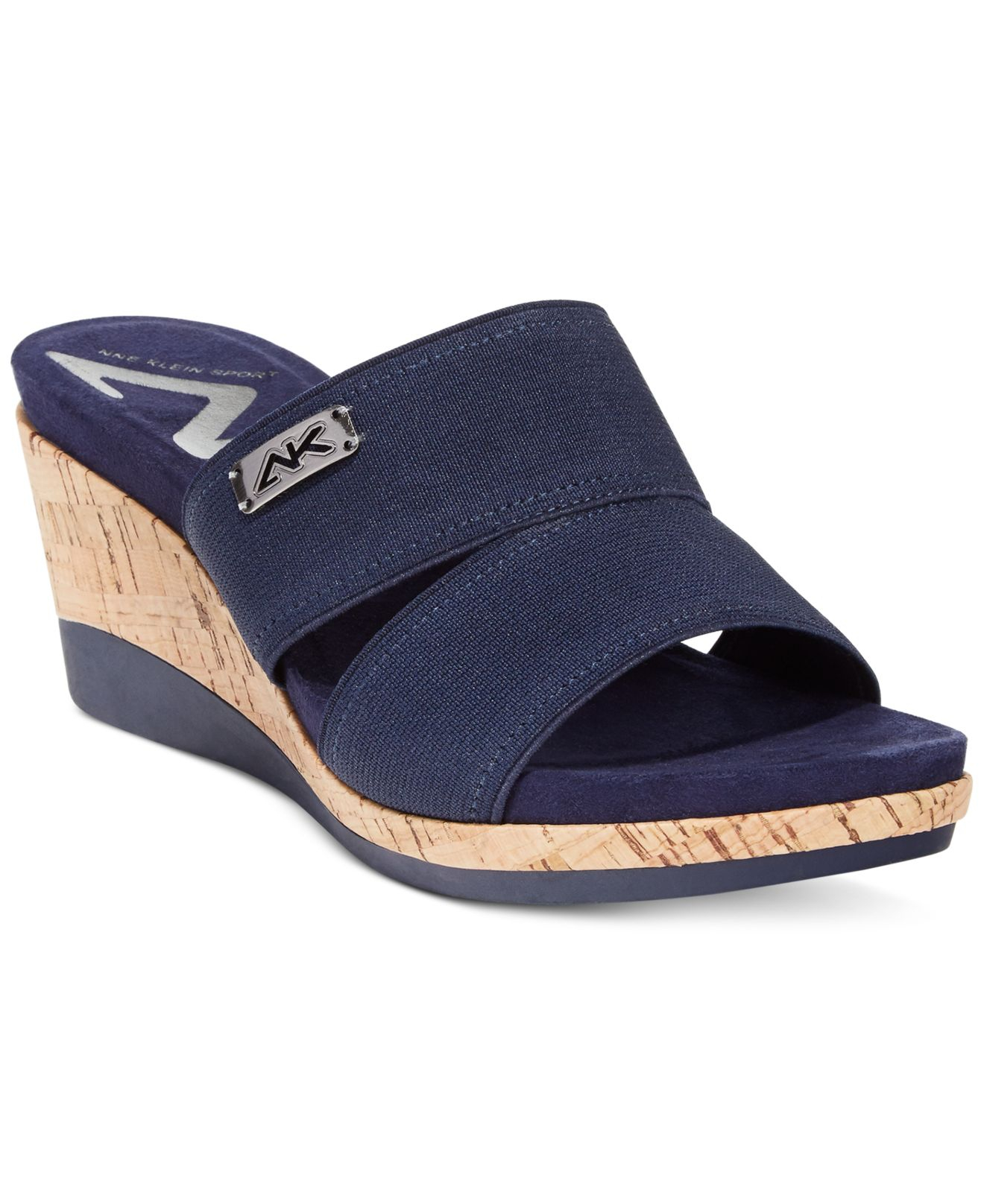 Lyst Anne Klein Pleasant Sport Wedge Slide Sandals In Blue