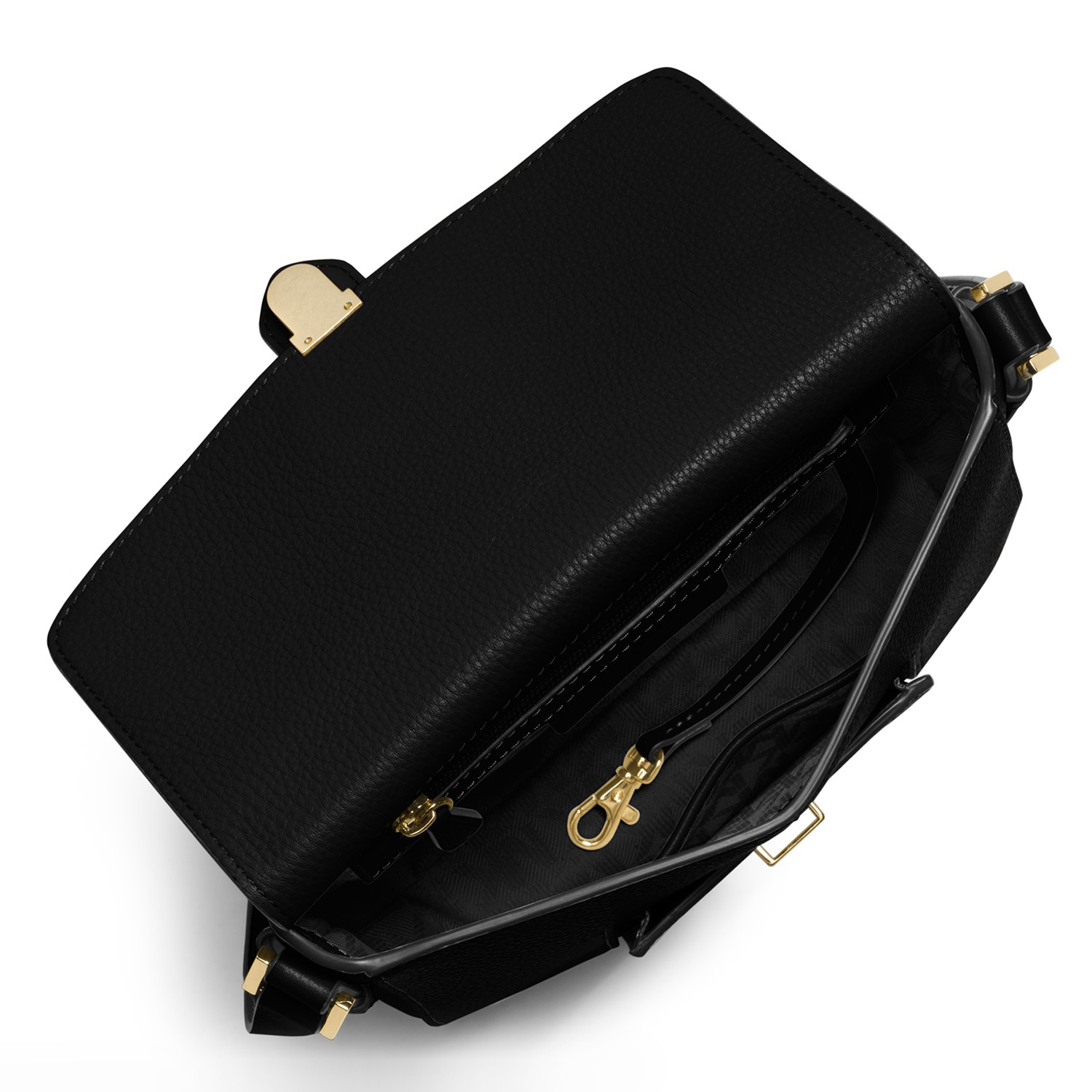ecf5df85e67c48 ... denmark michael michael kors romy medium leather messenger bag in black  lyst dc954 3ed4e