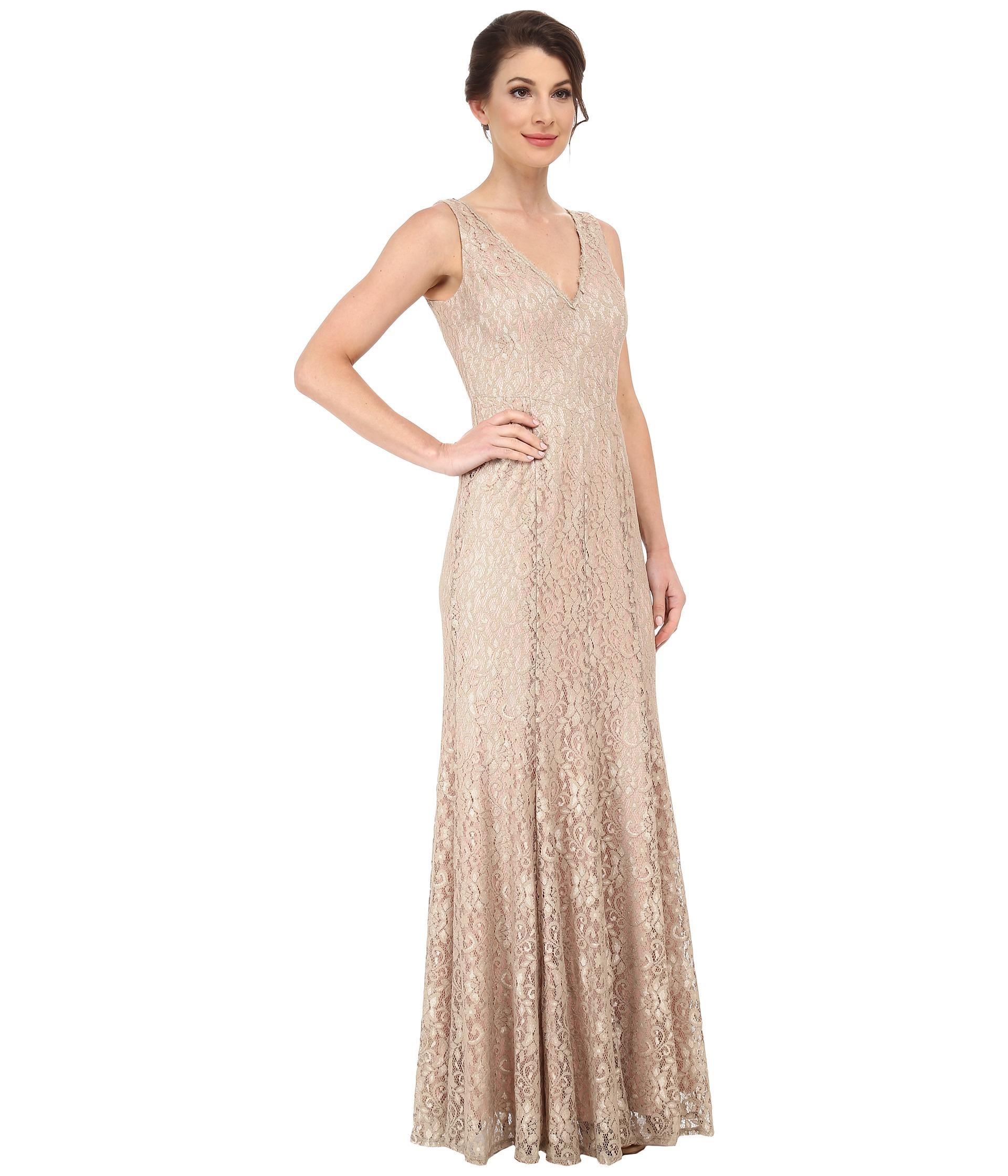 Lyst - Eliza J Sleeveless V-Neck Mermaid Gown in Metallic