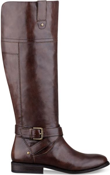 Marc Fisher Amber Tall Wide Calf Riding Boots In Brown