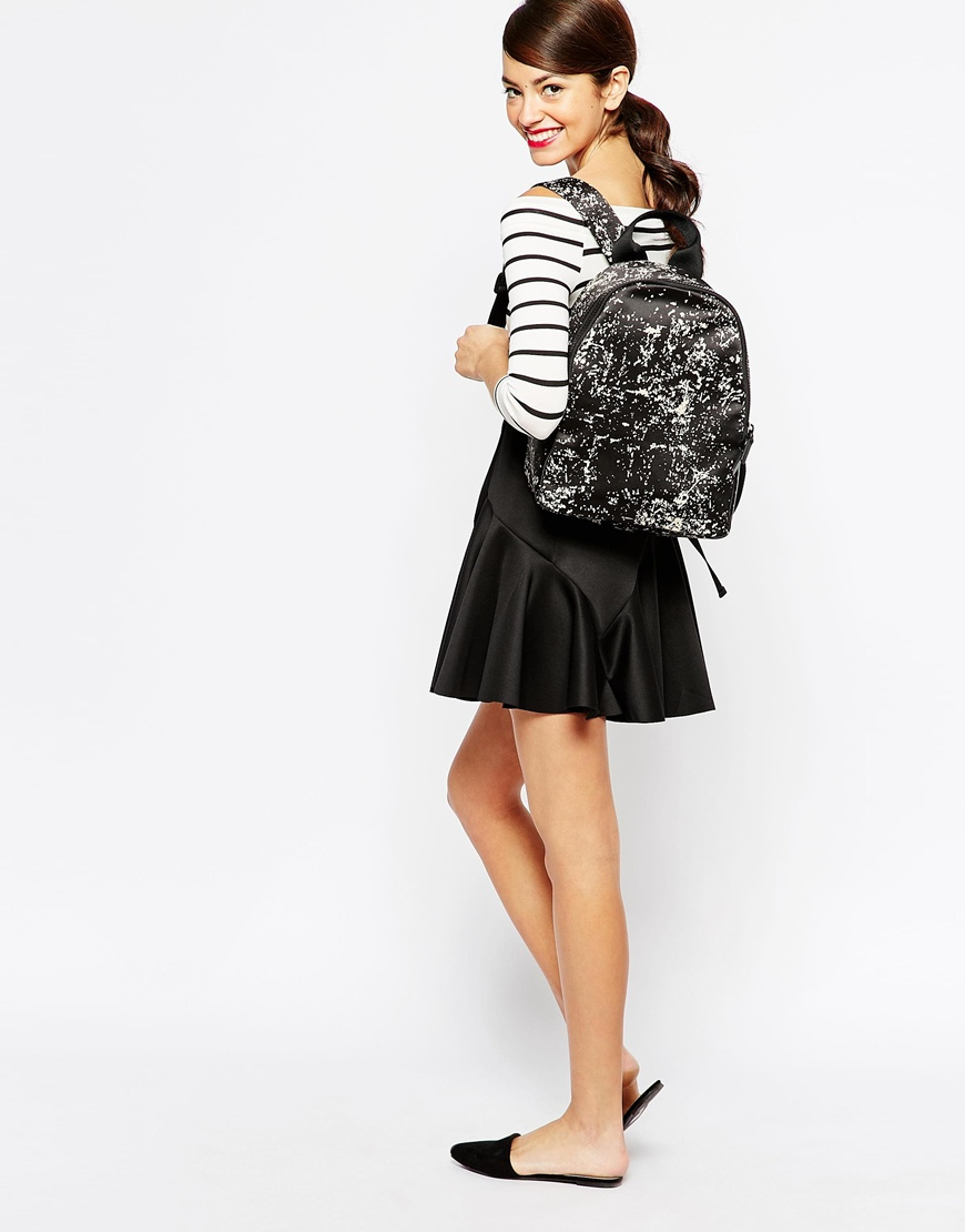 Lulu guinness floor print satin backpack in white lyst for Floor print