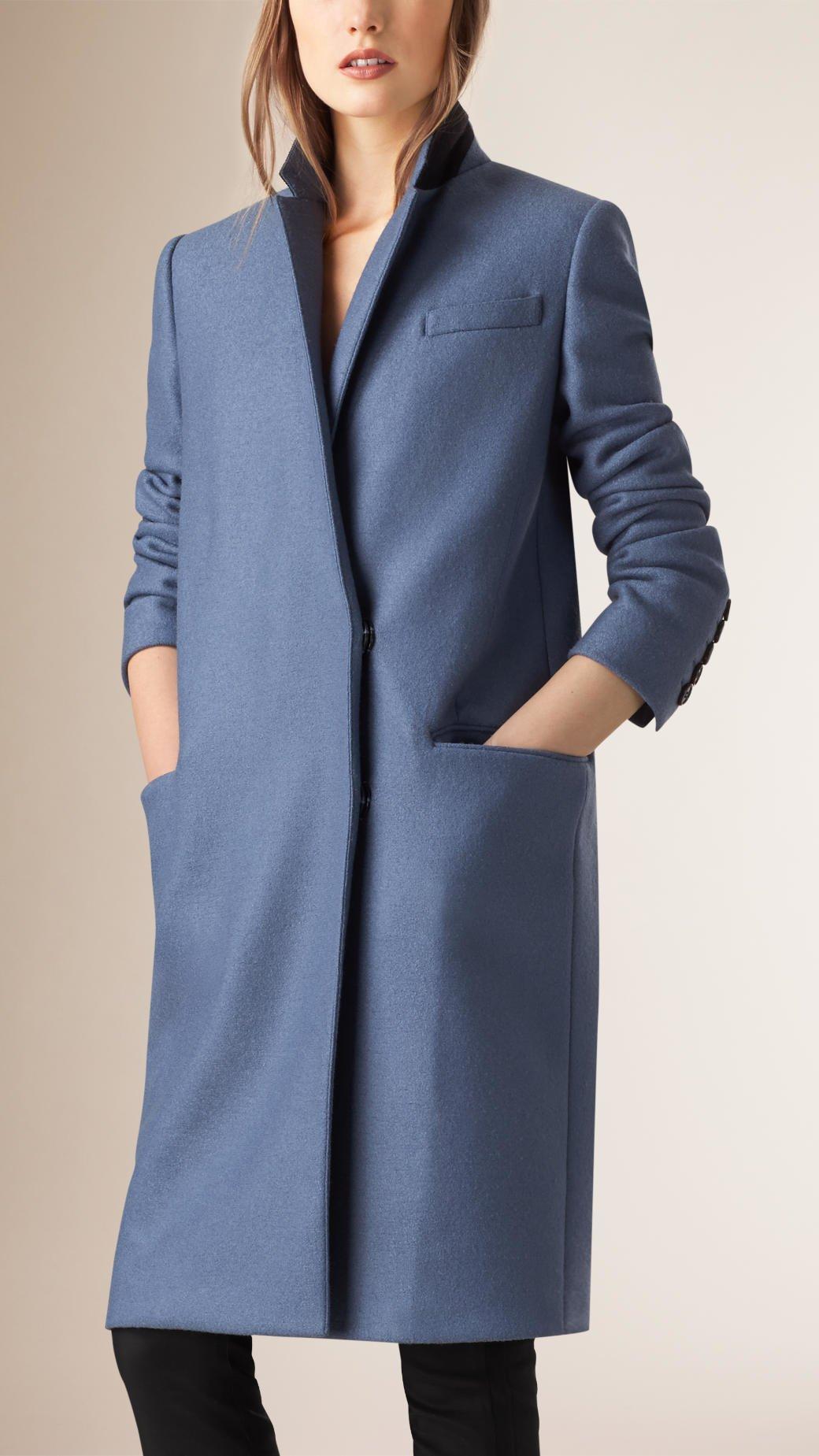 Burberry Oversize Wool Blazer Coat in Blue | Lyst