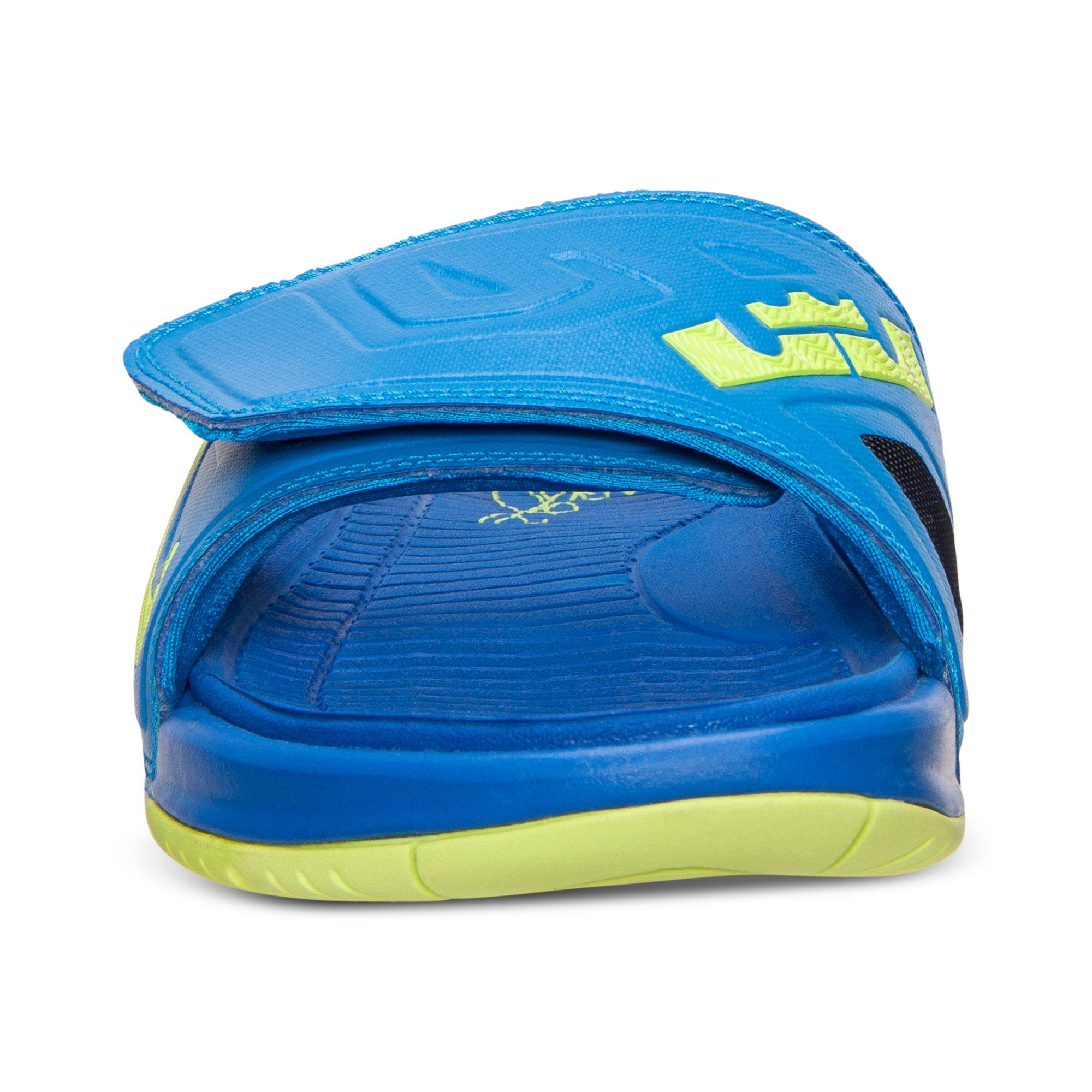 timeless design d11c4 cd681 Nike Mens Air Lebron 3 Elite Slide Sandals From Finish Line in Blue ...