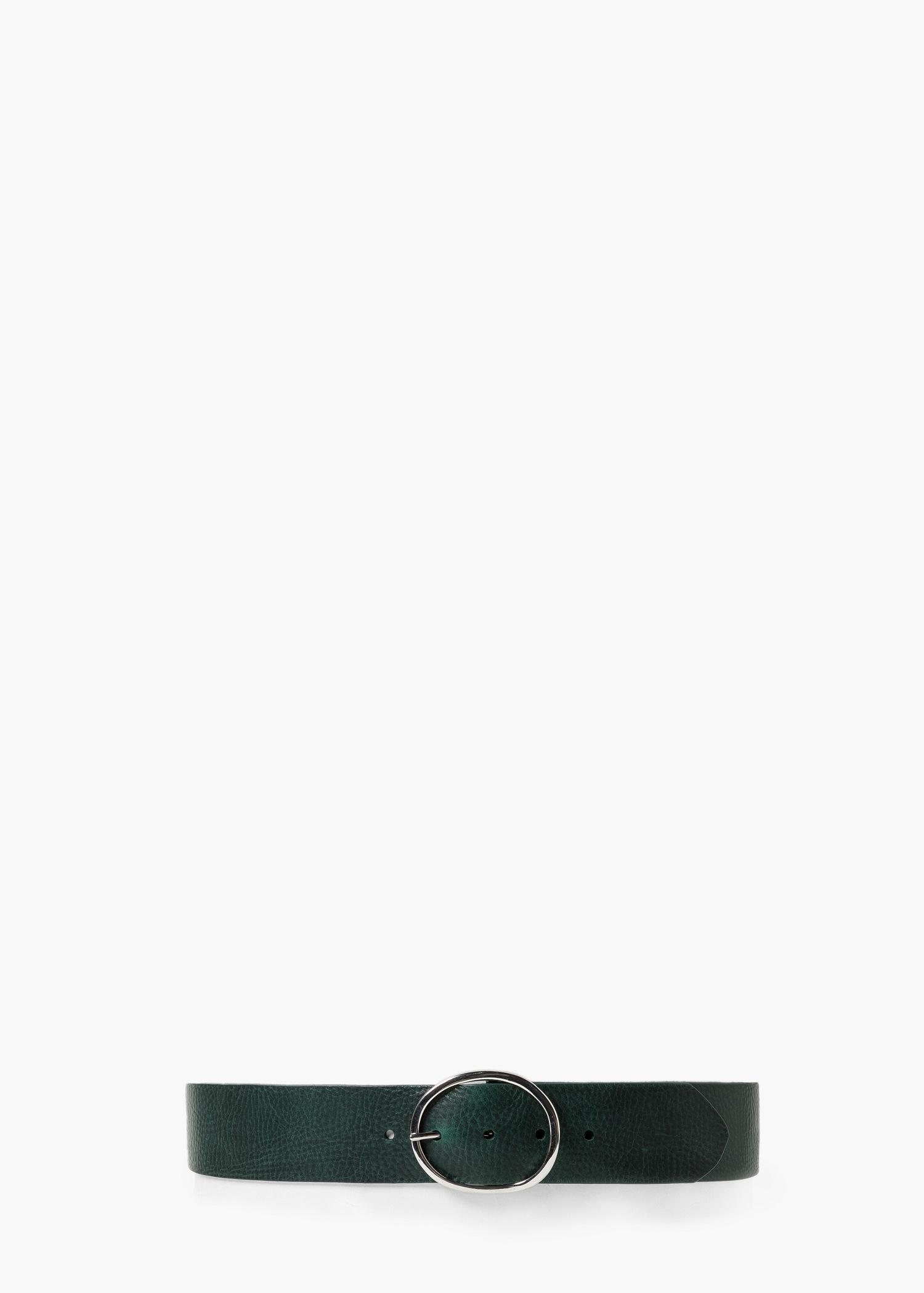 mango wide leather belt in green lyst