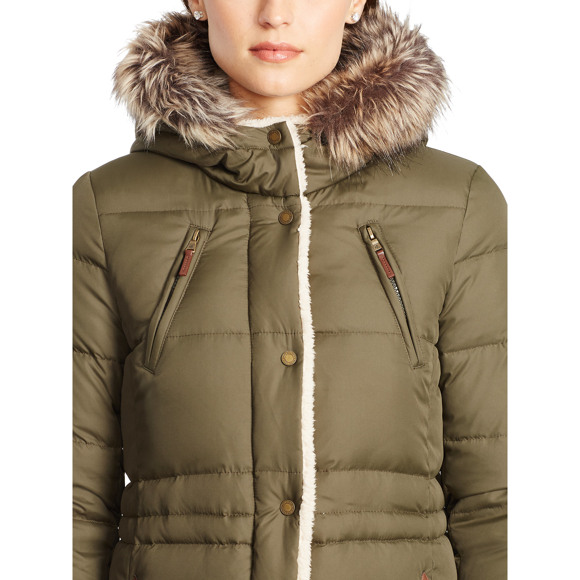 Ralph lauren Faux Fur–lined Down Coat in Green | Lyst