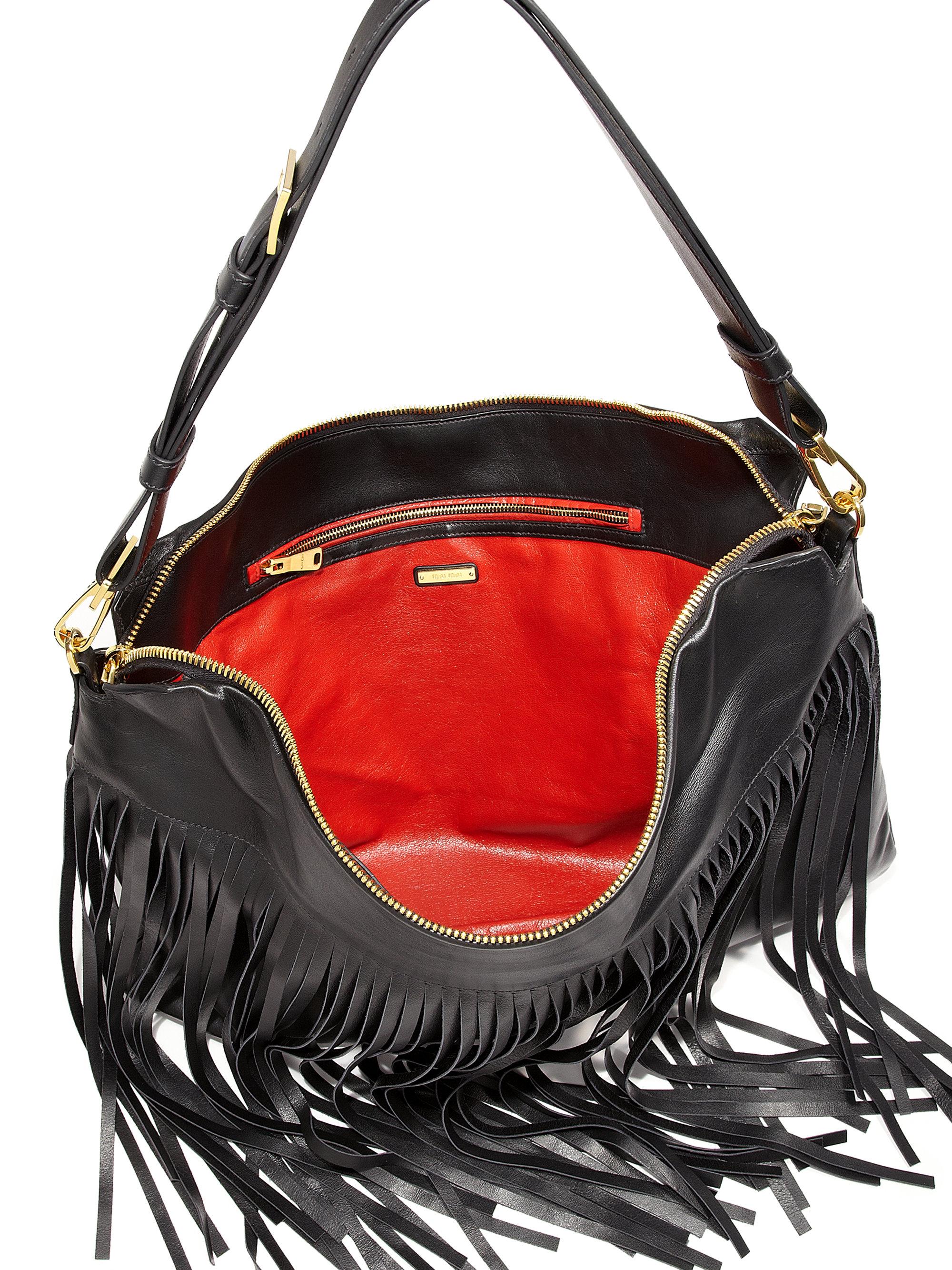 d979afbea27c Lyst - Miu Miu Fringed Hobo Bag in Black