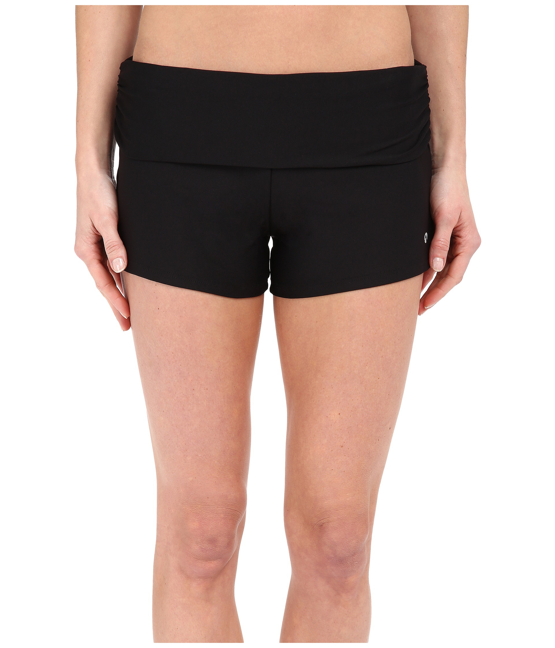d0afcf5532 Next By Athena Good Karma Shorebreaker Roll Top Swim Shorts in Black - Lyst
