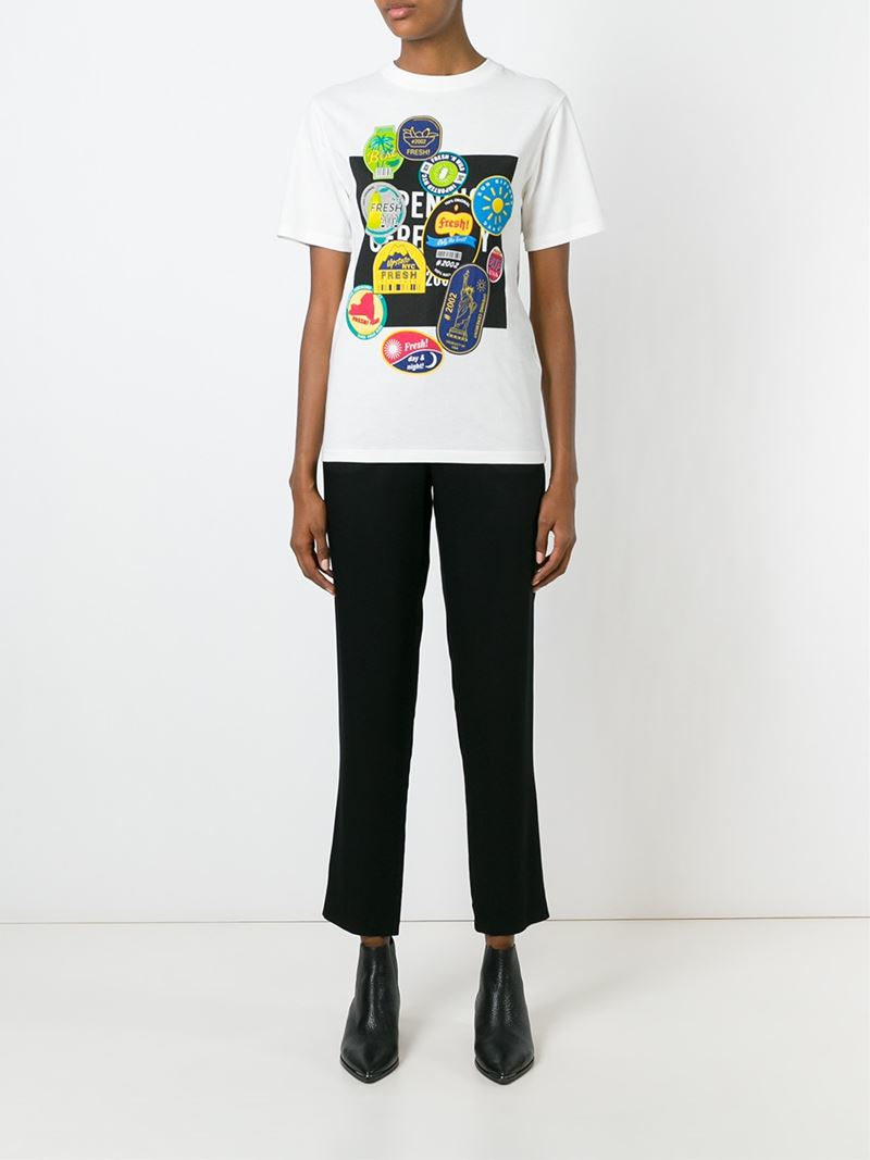 Lyst Opening Ceremony Fruit Sticker Print T Shirt In White