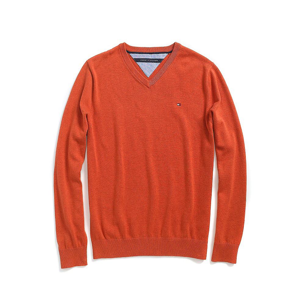 tommy hilfiger classic v neck sweater in orange for men lyst. Black Bedroom Furniture Sets. Home Design Ideas