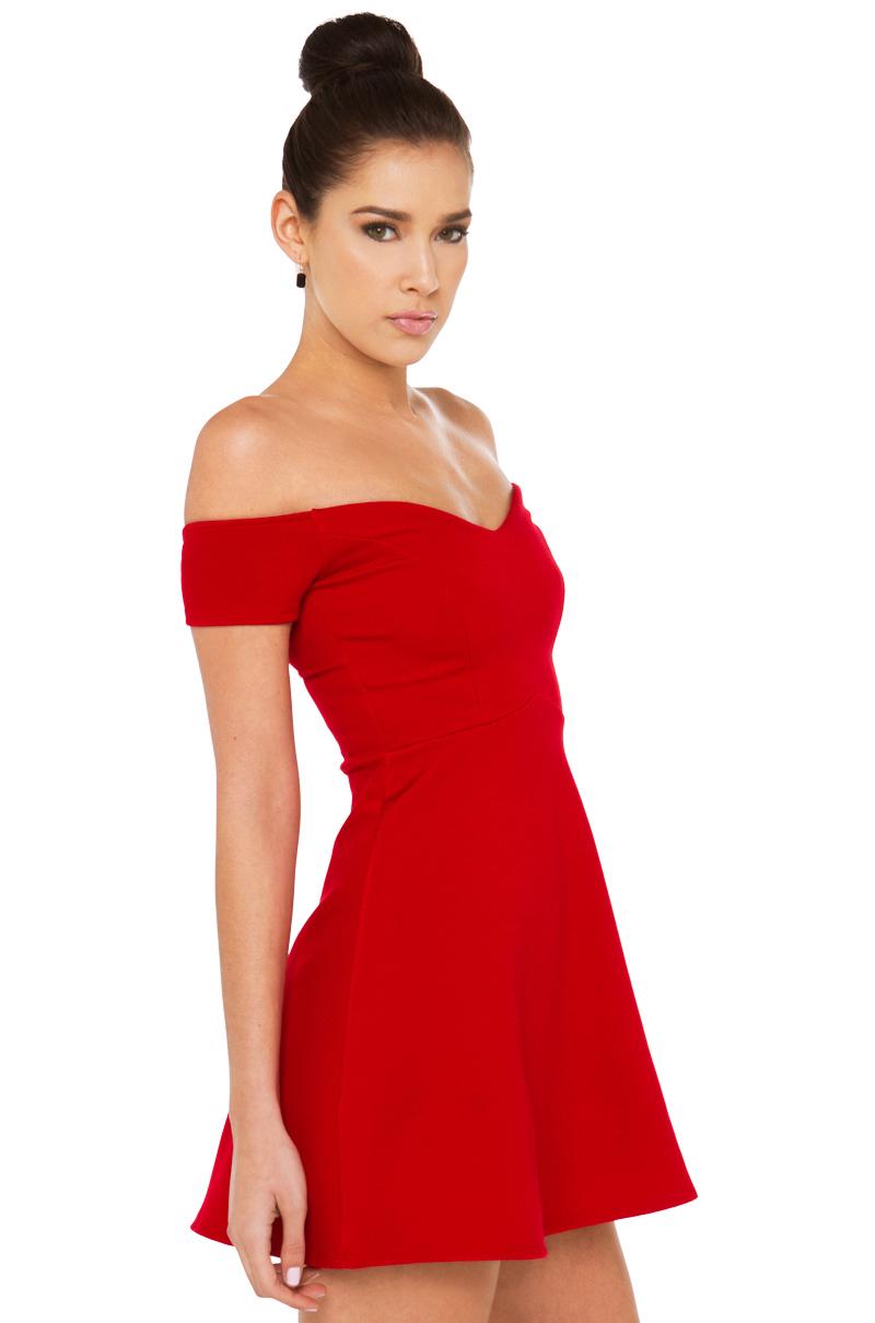 Akira Scarlet Off Shoulder Red Dress in Red  Lyst