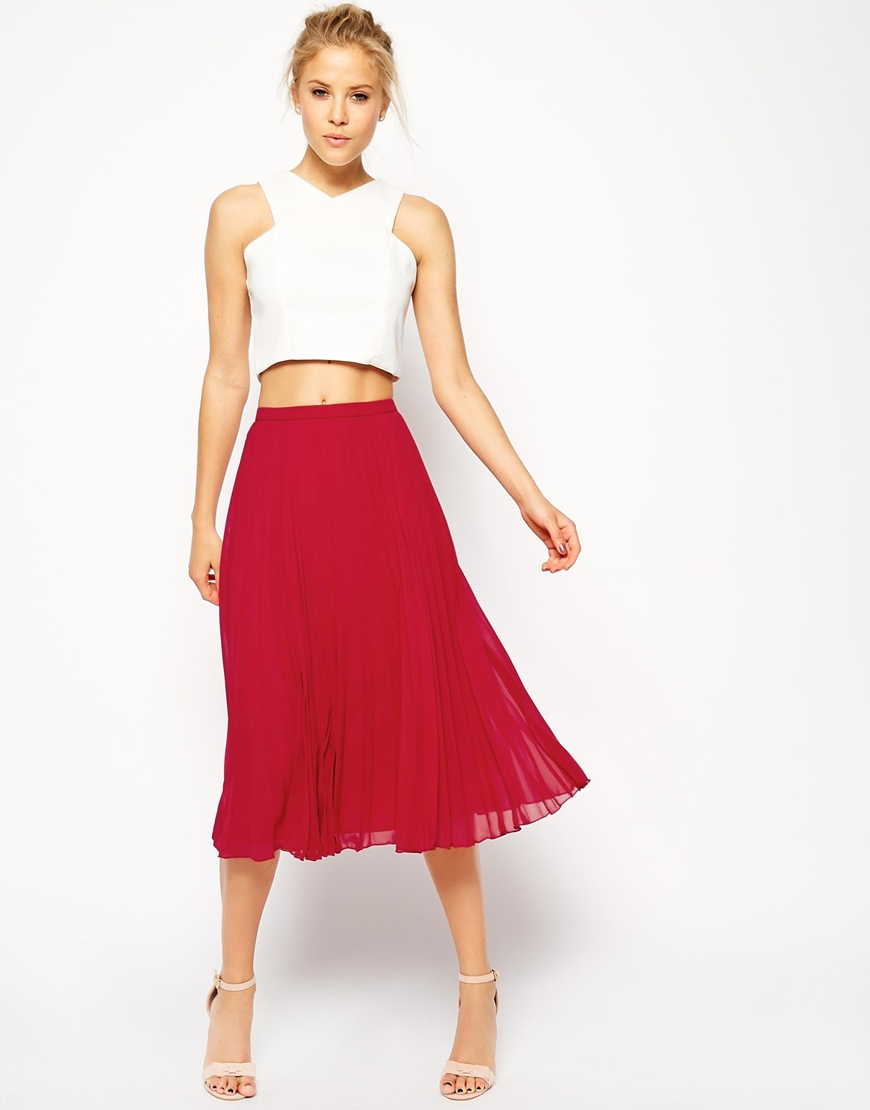 Asos Pleated Midi Skirt in Red | Lyst