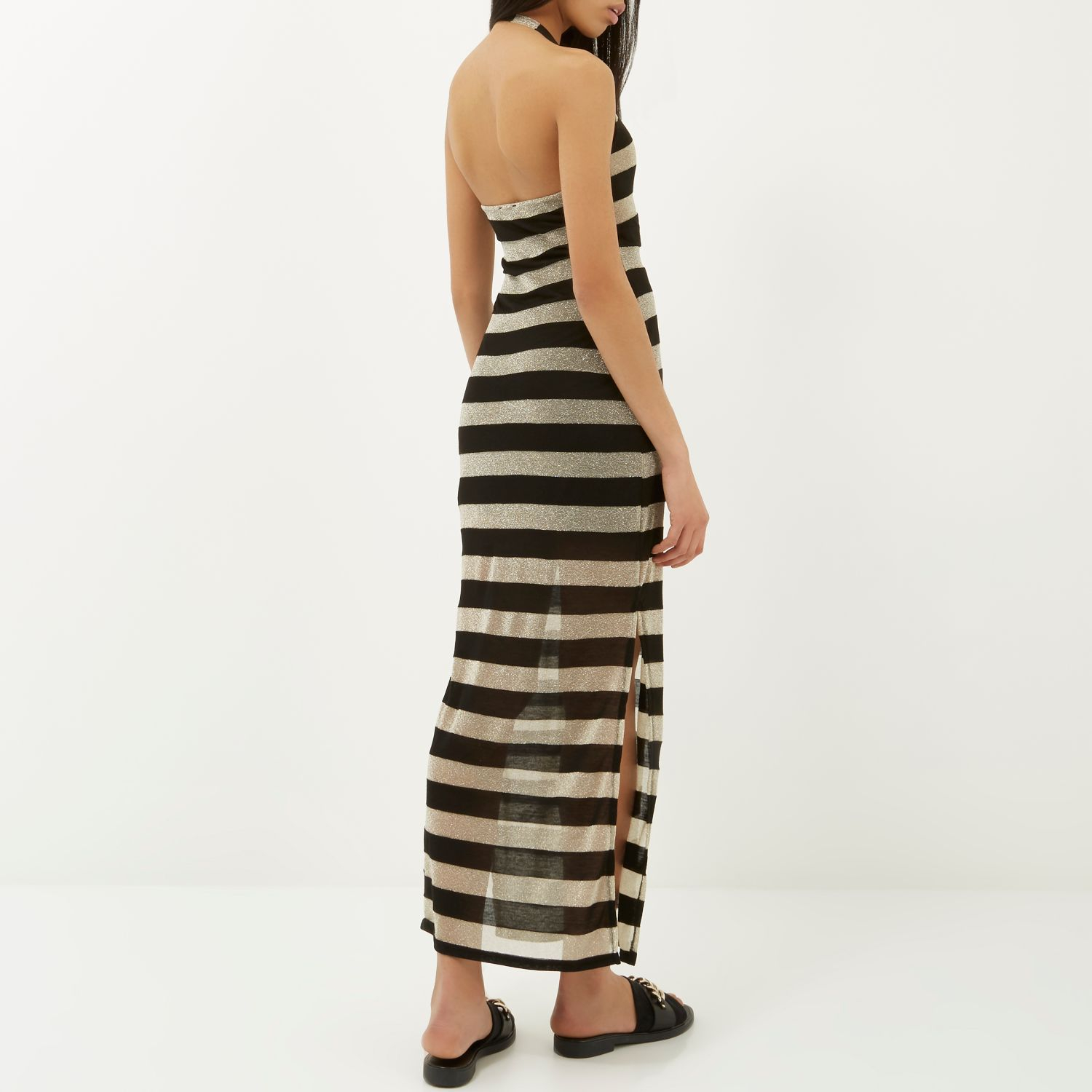 River Island Black And Gold Stripe Halter Neck Maxi Dress