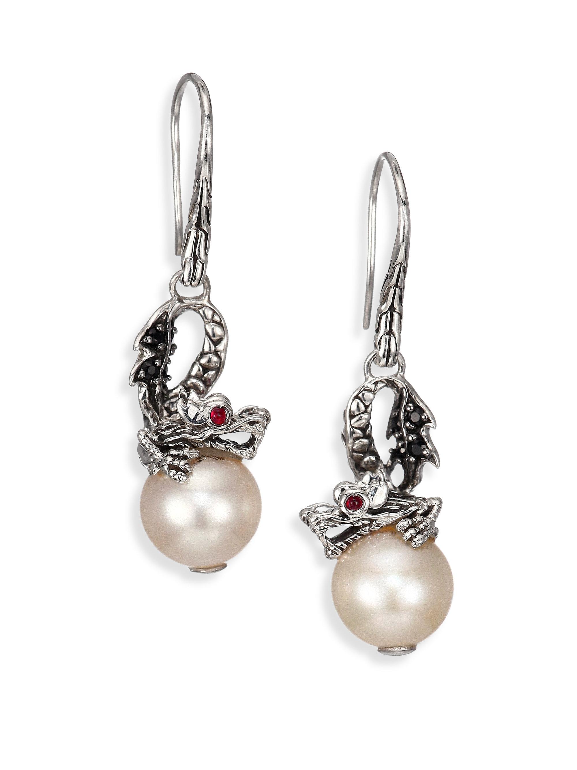John Hardy Naga Silver Dragon Drop Earrings with Pearl & Black Sapphire 7OBK897L6