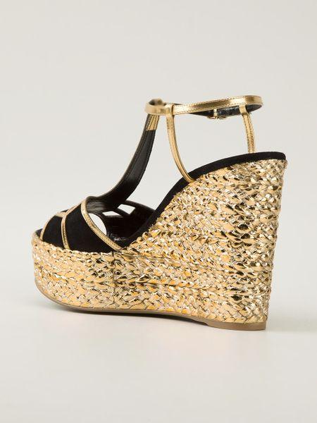 Sergio Rossi Strappy Raffia Wedge Sandal In Gold Metallic