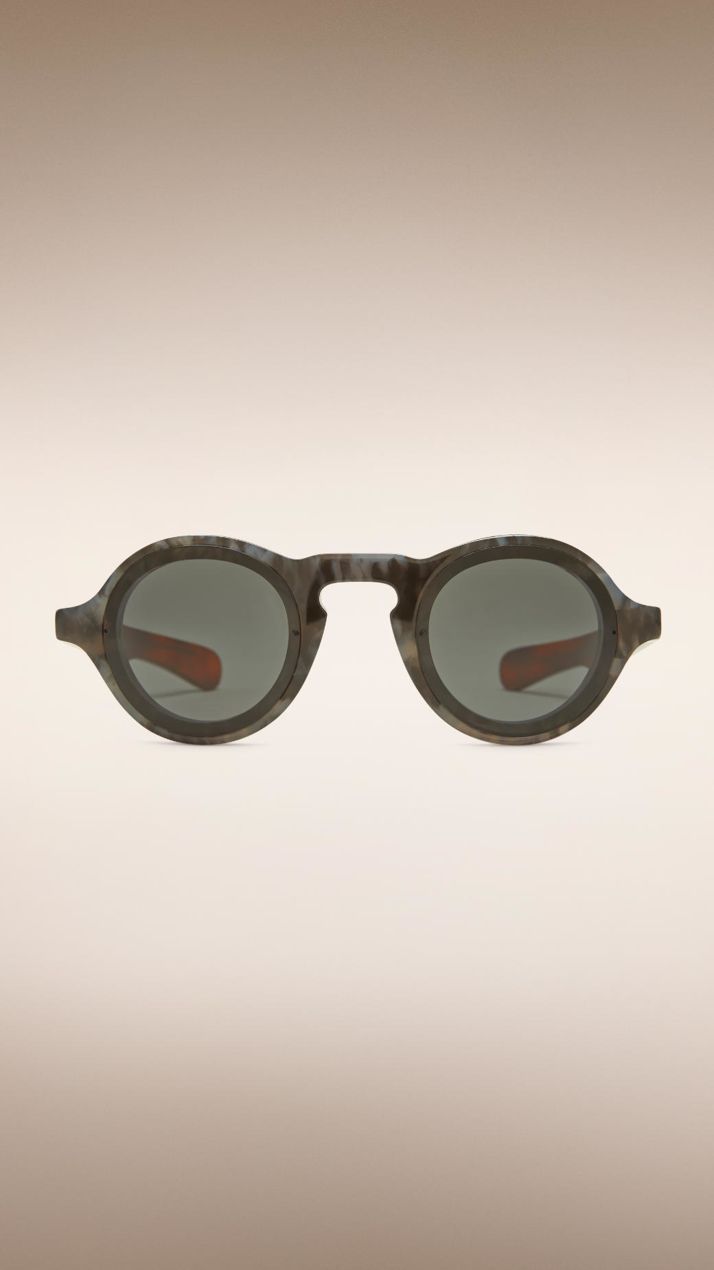 42be77dfbd9 Lyst - Burberry Colour Block Round Frame Sunglasses in Gray