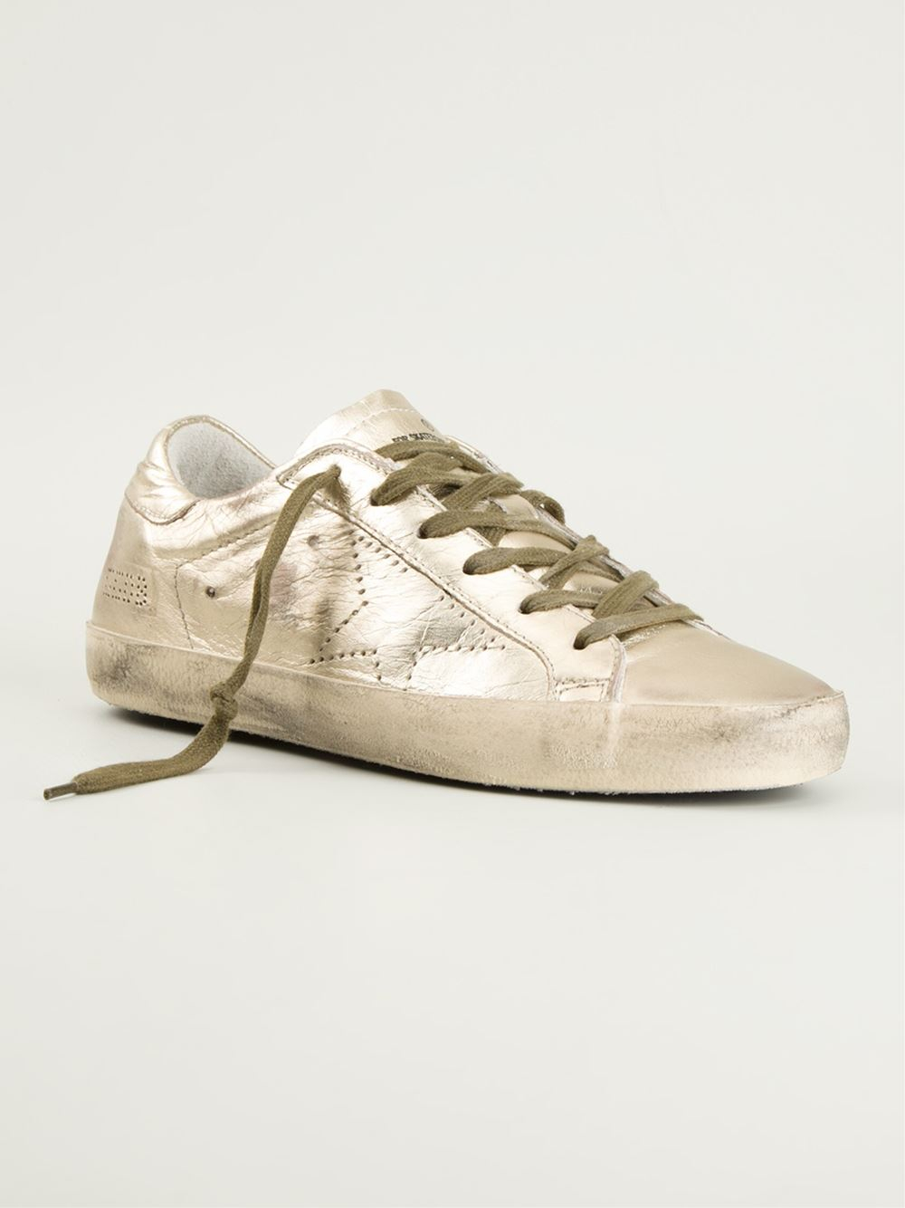 1a0e290be6bc Lyst - Golden Goose Deluxe Brand Superstar Metallic Leather Low-Top ...