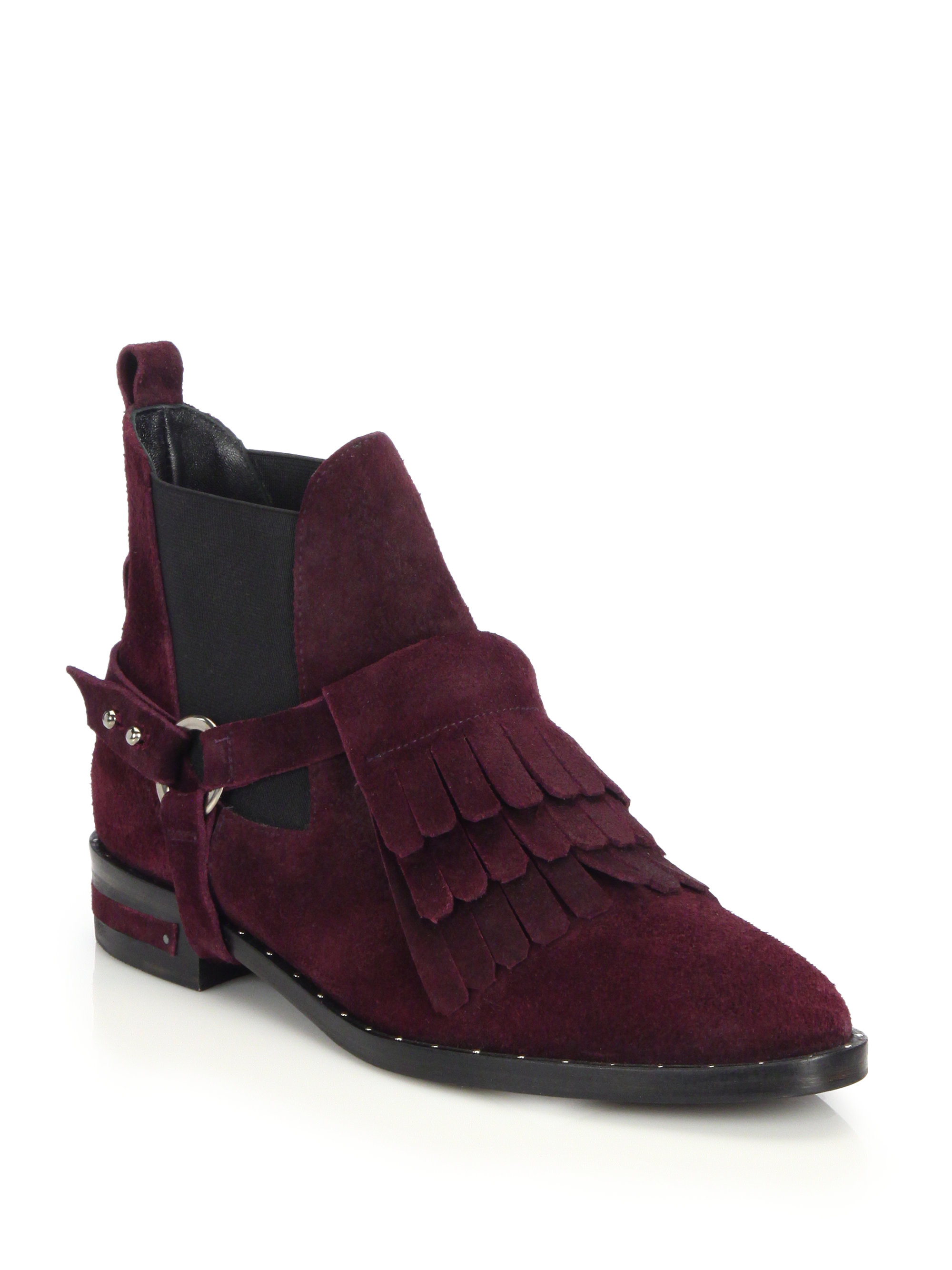 frēda salvador suede fringed harness ankle boots in purple