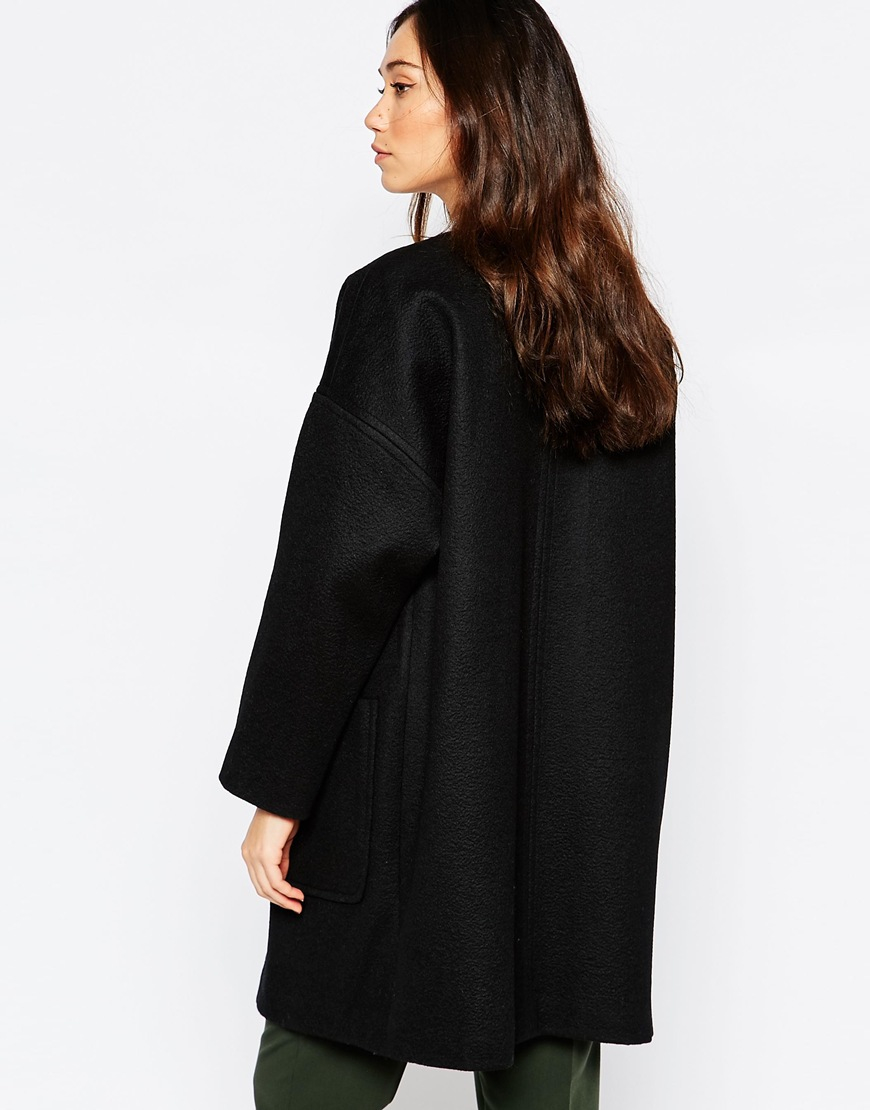 Helene berman Black Coated Zip Front Collarless Coat in Black | Lyst