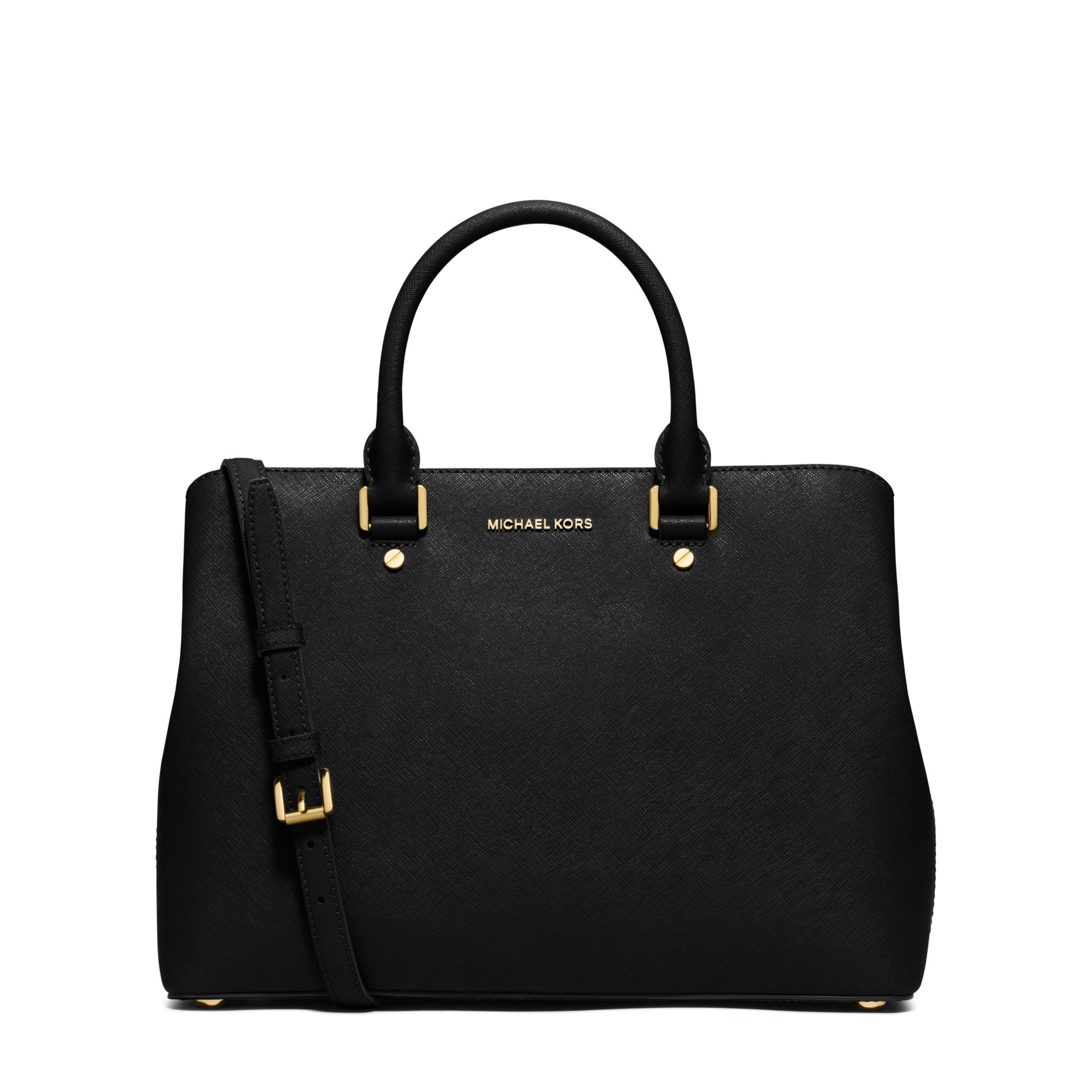 michael kors savannah large saffiano leather satchel in black lyst. Black Bedroom Furniture Sets. Home Design Ideas
