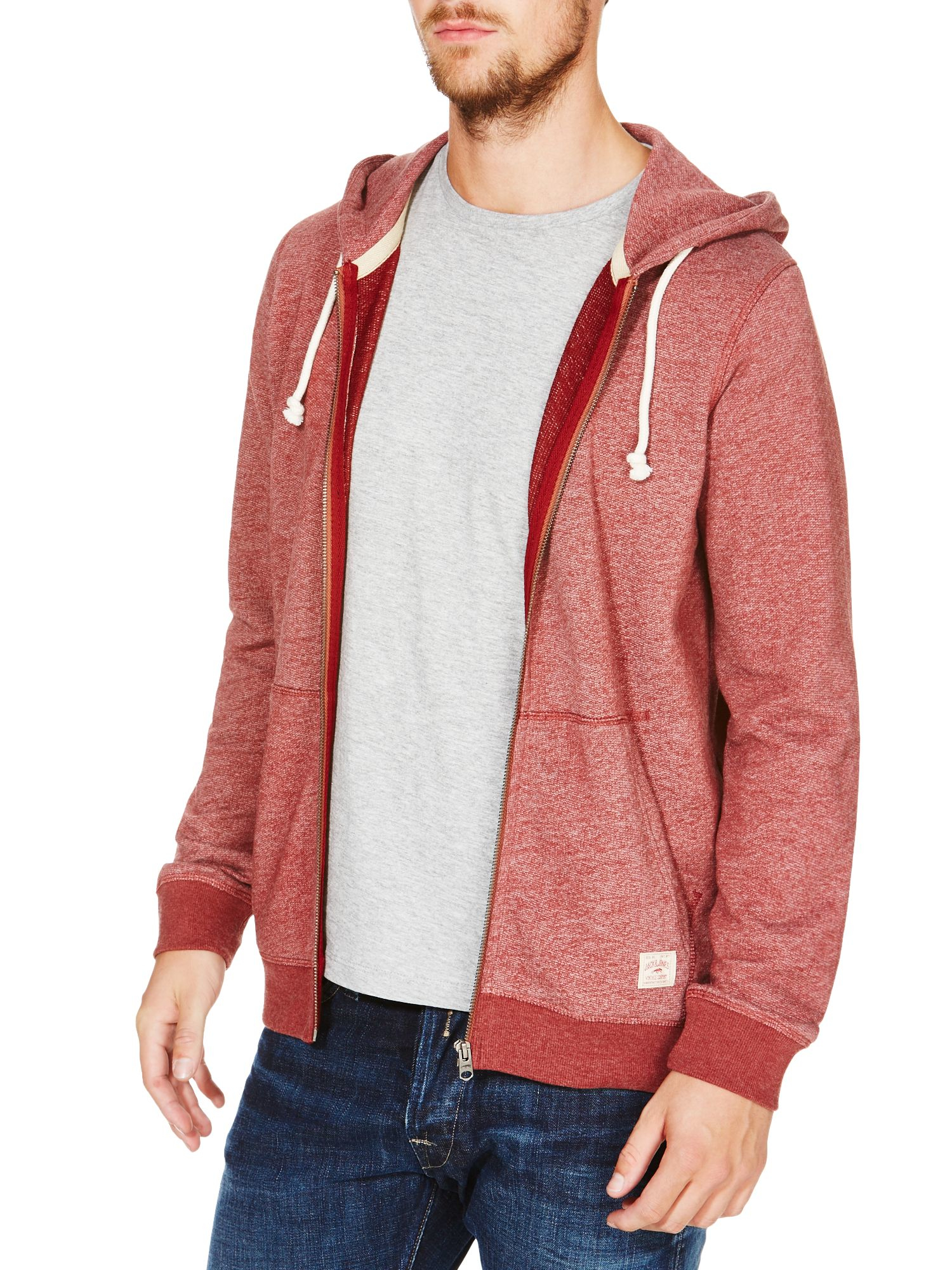 Jack jones mens long sleeve hooded sweat in pink for men for How to not sweat through dress shirts