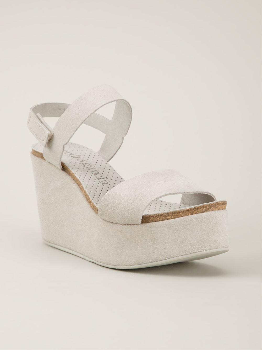 6e1598a03283 Lyst - Pedro Garcia  Dulce  Wedge Sandals in Gray