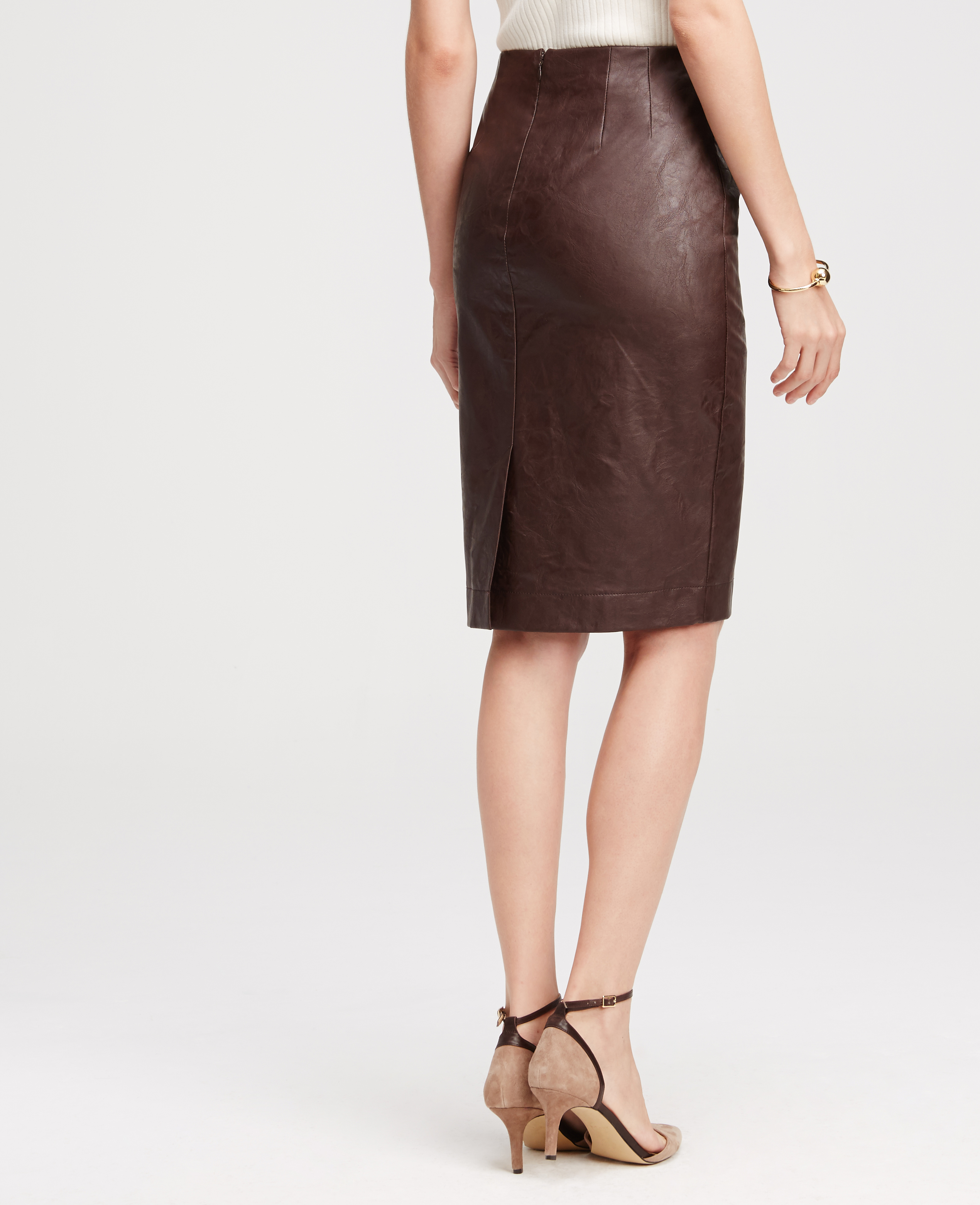 Ann taylor Faux Leather Pencil Skirt in Red   Lyst