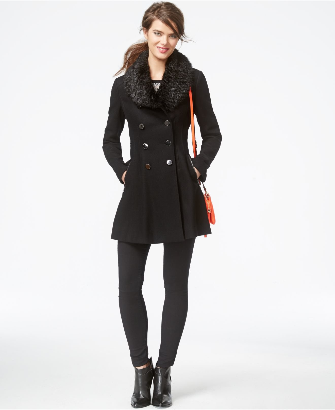 Guess Faux Fur Collar Flared Peacoat In Black Lyst