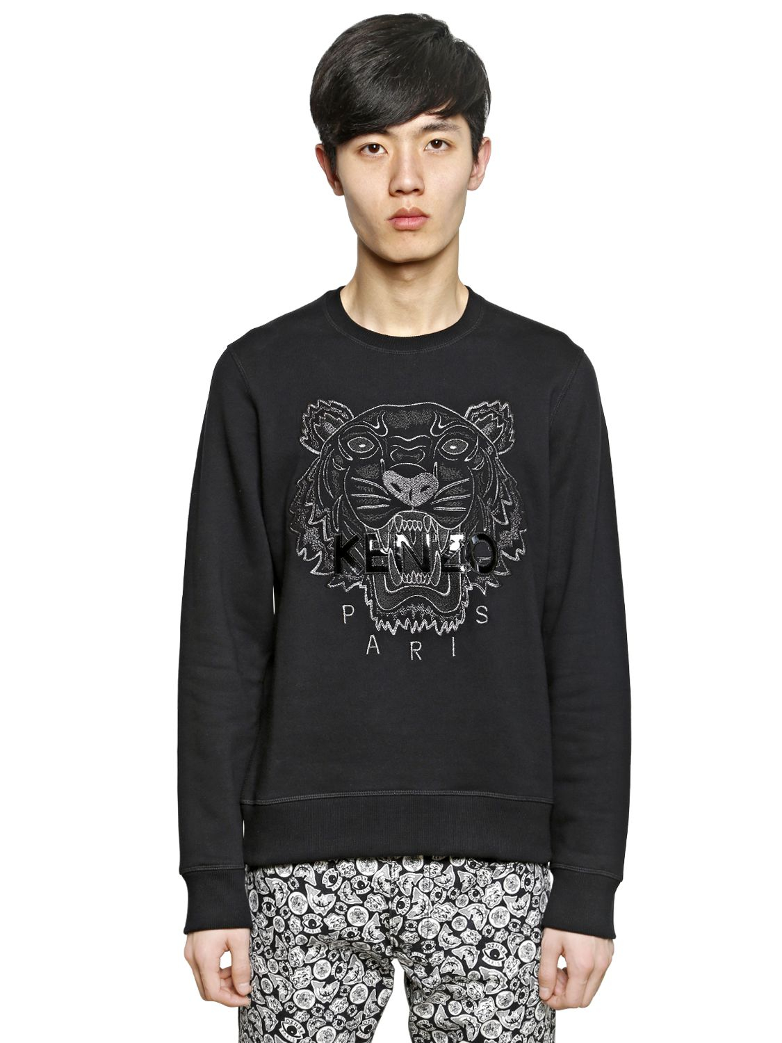 Lyst - KENZO Tiger Embroidered Cotton Sweatshirt in Black for Men 43cc1b390