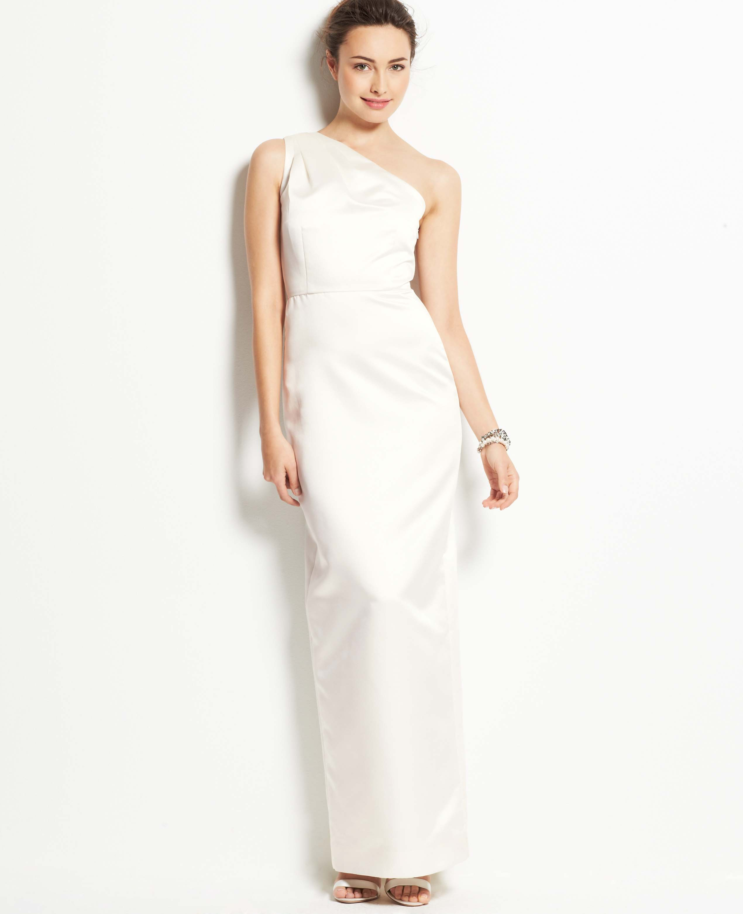 Silk One Shoulder Wedding Dress