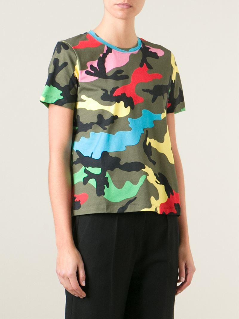 6d460f6b Valentino 'rockstud' Camouflage T-shirt in Green - Lyst