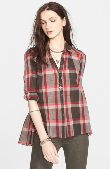 Lyst Free People Peppy In Plaid Button Front Shirt In Gray