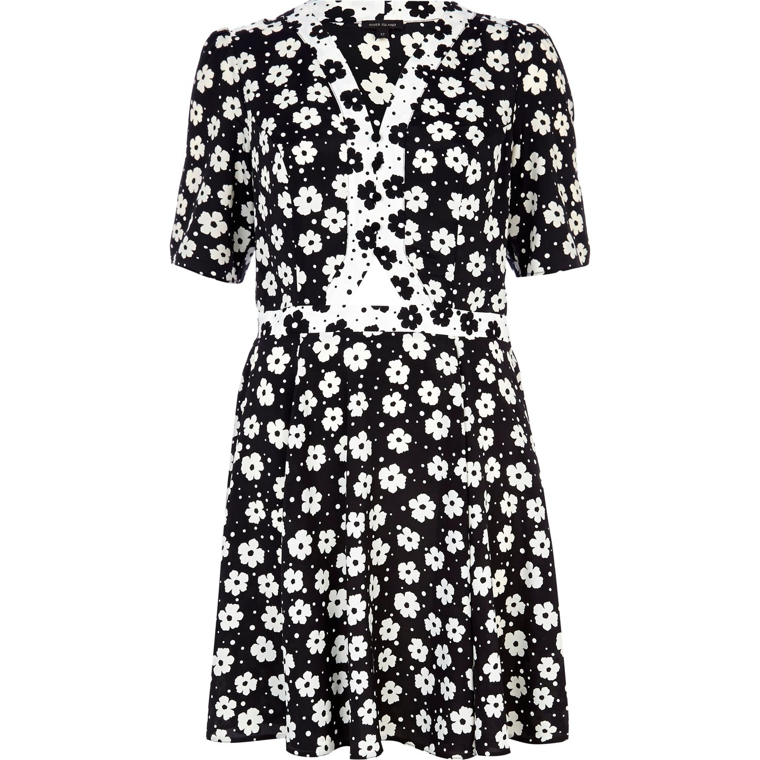River Island Black And White Cut Out Floral Tea Dress In White Lyst