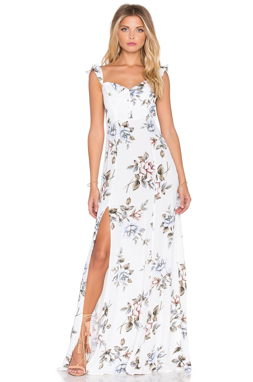 8d5ba573efc Flynn Skye Bardot Floral-Print Maxi Dress in White - Lyst